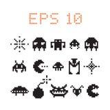 Retro insieme del mostro del pixel del video gioco, vettore illustrazione vettoriale