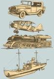 Retro insieme del trasporto illustrazione di stock