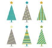 Retro insieme dell'icona degli alberi di Natale Fotografia Stock Libera da Diritti