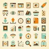 Retro insieme dell'icona di web Immagine Stock Libera da Diritti