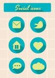 Retro insieme delle icone sociali Fotografie Stock