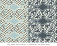 Retro insieme di colore senza cuciture del fondo 2 Diamond Check Cross Geomet illustrazione vettoriale