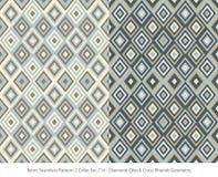 Retro insieme di colore senza cuciture del fondo 2 Diamond Check Cross Rhomb illustrazione di stock