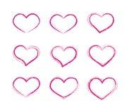 Retro insieme di simboli del cuore di vettore di lerciume dello scarabocchio Immagini Stock Libere da Diritti