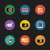 Retro insieme disegnato dell'icona degli apparecchi elettronici Fotografia Stock Libera da Diritti