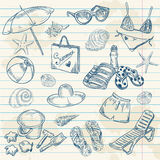 Retro insieme disegnato a mano della spiaggia di estate delle icone Immagini Stock