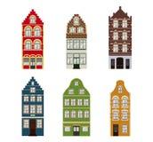Retro insieme sveglio di esterno delle case Raccolta delle facciate europee della costruzione Architettura tradizionale del Belgi illustrazione vettoriale