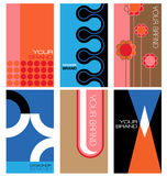 Retro inspired card design set. 1960s themed graphic designs for cards, labels, covers stock illustration