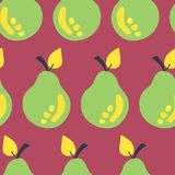 Retro inspired green pears seamless vector pattern on a dark pink background. Great for fabric, paper, packaging, home decor, royalty free illustration
