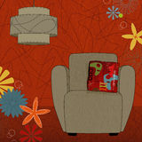 Retro-inspired room (Vector). Retro-modern easy chair and lamp; colorful and stylized. Each item is grouped so you can use them independently from the background stock illustration