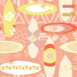 Retro inspired surfboards seamless repeat pattern. Orange, white, yellow surfboards on a coral background. Great for fabric , royalty free illustration
