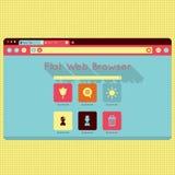 Retro interfaccia d'annata di web browser di vettore Immagini Stock Libere da Diritti