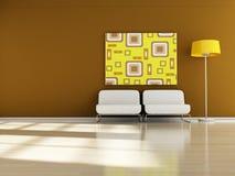 Retro Interior. Modern interior (3D render) -  Retro Furniture Stock Images