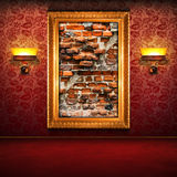 Broken brick wall exposition. Retro interior with broken brick wall exposition Royalty Free Stock Photography