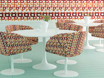 Retro interior design of cafe Stock Images