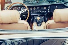 Retro interior of old automobile Stock Images