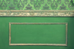 Retro interior from rococo period. In green style. Vintage details of retro rich home Stock Photography