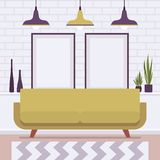 Retro interior with two big frames for copy space royalty free illustration