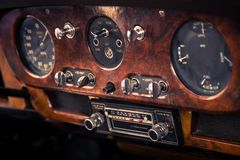 Retro interior vintage car Stock Photos