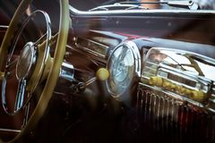 Retro interior of vintage car Stock Images