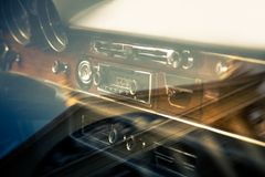 Retro interior of vintage car Royalty Free Stock Images