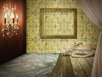 Retro interiore della stanza di modo fotografia stock libera da diritti