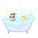 Retro interno del bagno Bolle di sapone La vasca con schiuma bolle parete di gomma gialla del bagno ed interna dell'anatra e dell Fotografie Stock Libere da Diritti