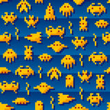 Retro invaders. Vintage space creatures and spaceships stock illustration