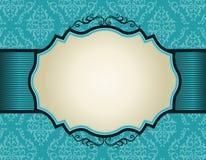 Retro invitation frame on damask pattern backgroun. Elegant damask pattern background with turquoise ribbon.. perfect as stylish wedding invitations and other royalty free illustration