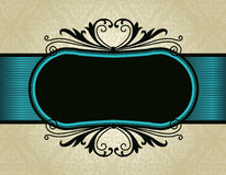 Retro invitation frame on damask pattern backgroun. Elegant damask pattern background with turquoise ribbon.. perfect as stylish wedding invitations and other Royalty Free Stock Images