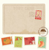 Retro Invitation postcard with Autumn stamps Royalty Free Stock Photography