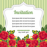 Retro invitation with red flowers Royalty Free Stock Image