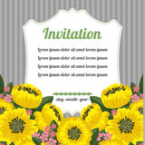 Retro invitation with yellow flowers Royalty Free Stock Images