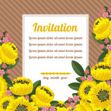 Retro invitation with yellow flowers over brown Stock Image