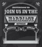 Retro invito d'annata della lavagna di nozze Immagine Stock Libera da Diritti