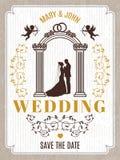 Retro invito della partecipazione di nozze o del manifesto Vector il modello di progettazione con il posto per il vostro testo illustrazione di stock