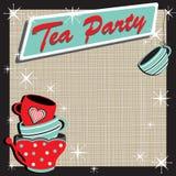 Retro invito impilato del partito di tè Immagine Stock