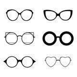 Retro inzameling van 6 diverse glazen Zonnebril zwarte silhouetten Geplaatste oogglazen Vector illustratie Royalty-vrije Stock Afbeeldingen