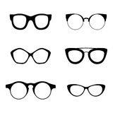 Retro inzameling van 6 diverse glazen Zonnebril zwarte silhouetten Geplaatste oogglazen Vector illustratie Royalty-vrije Stock Afbeelding