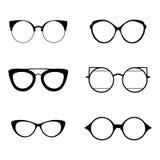Retro inzameling van 6 diverse glazen Zonnebril zwarte silhouetten Geplaatste oogglazen Vector illustratie Stock Fotografie