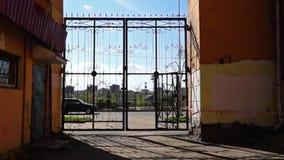 Retro iron gate of yard stock footage