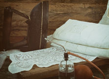 Retro iron, linen and sprinkler Royalty Free Stock Image