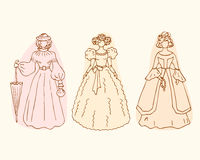 Retro isolated women sketches. Vintage collection of retro women Royalty Free Stock Images