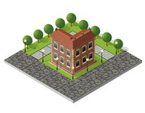 Retro isometric country house. Retro isometric country college house municipal infrastructure and city educational objects Royalty Free Stock Photo