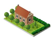Retro isometric country house. Retro isometric country college house municipal infrastructure and city educational objects Stock Image