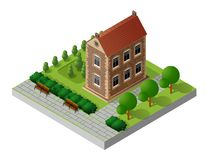 Retro isometric country house. Municipal infrastructure and city objects Royalty Free Stock Photography