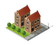 Retro isometric country house. Municipal infrastructure and city objects Stock Photos