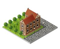 Retro isometric country house. Municipal infrastructure and city objects Royalty Free Stock Photo