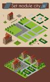 Retro isometric country house. Retro set isometric country college house municipal infrastructure and kit city educational objects Stock Photos