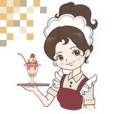 Retro Japan waitress image royalty free illustration